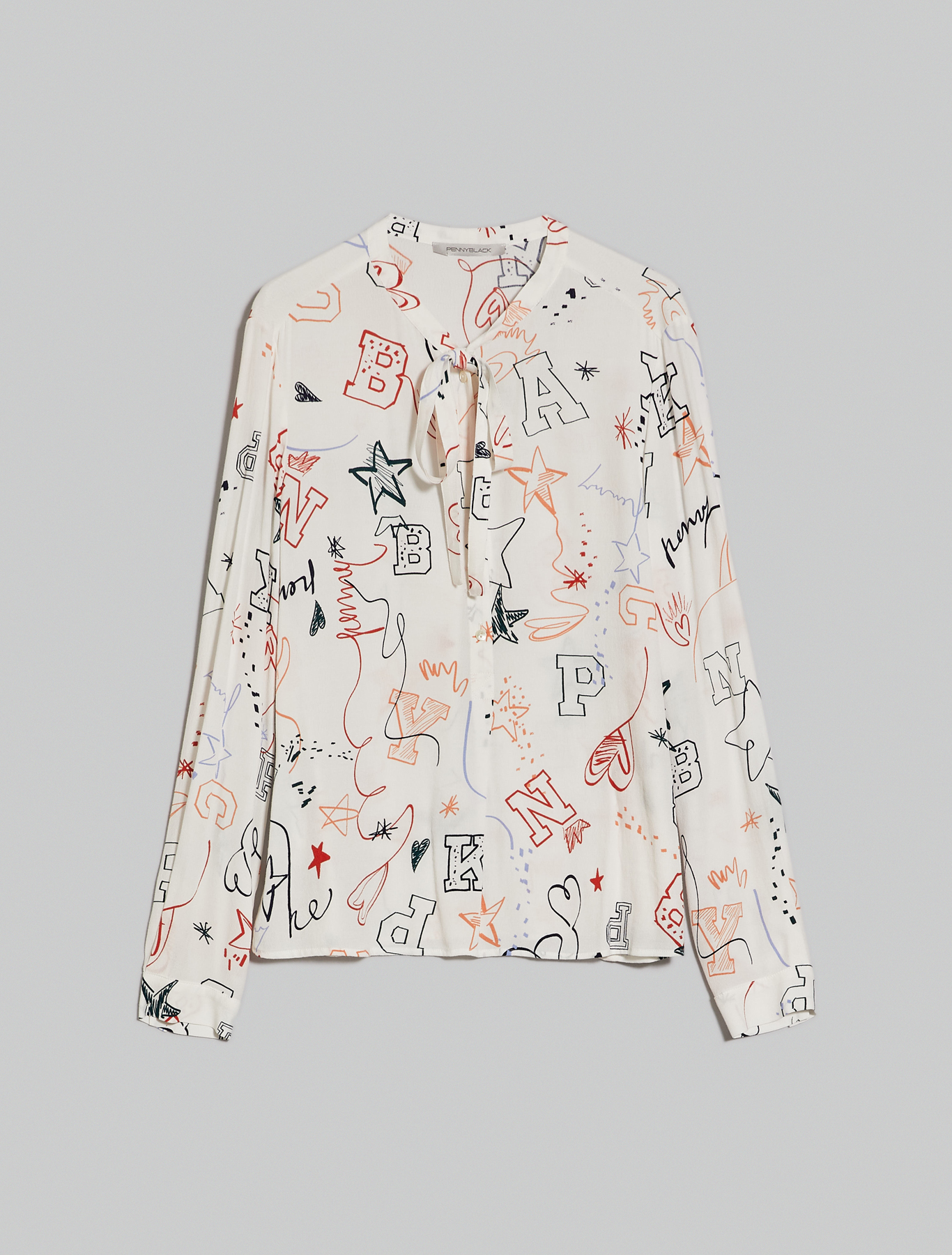 Printed crêpe shirt - white pattern - pennyblack