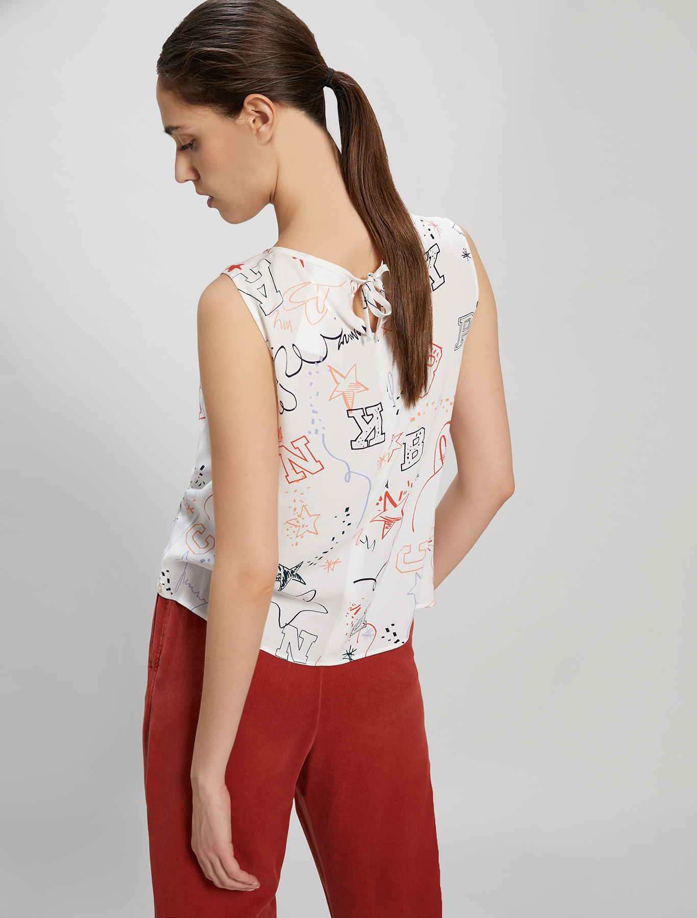 Printed crêpe top - white pattern - pennyblack