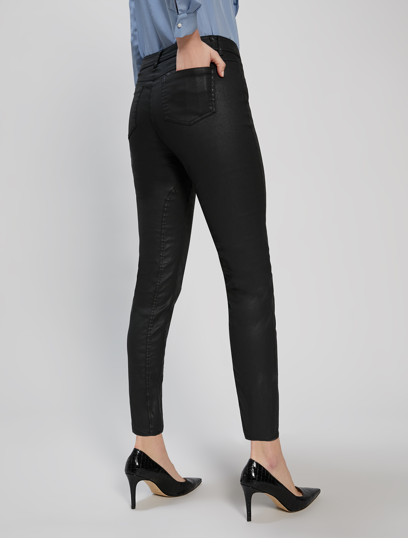 Cotton satin trousers - black - pennyblack
