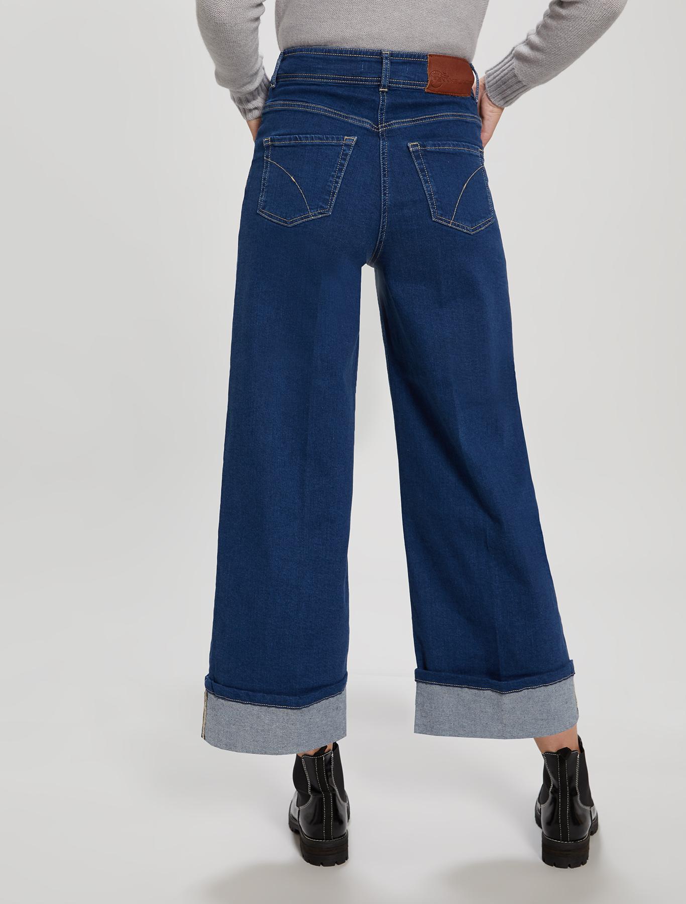 Denim culottes with turn-ups - midnight blue - pennyblack