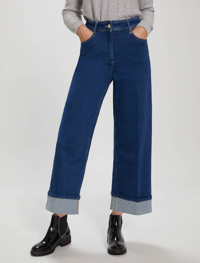 Denim culottes with turn-ups - midnight blue - pennyblack