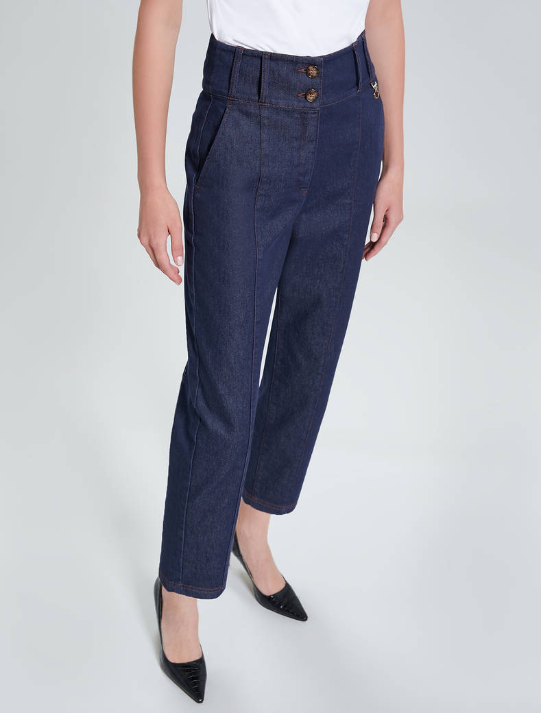 Blue barrel-leg jeans - midnight blue - pennyblack