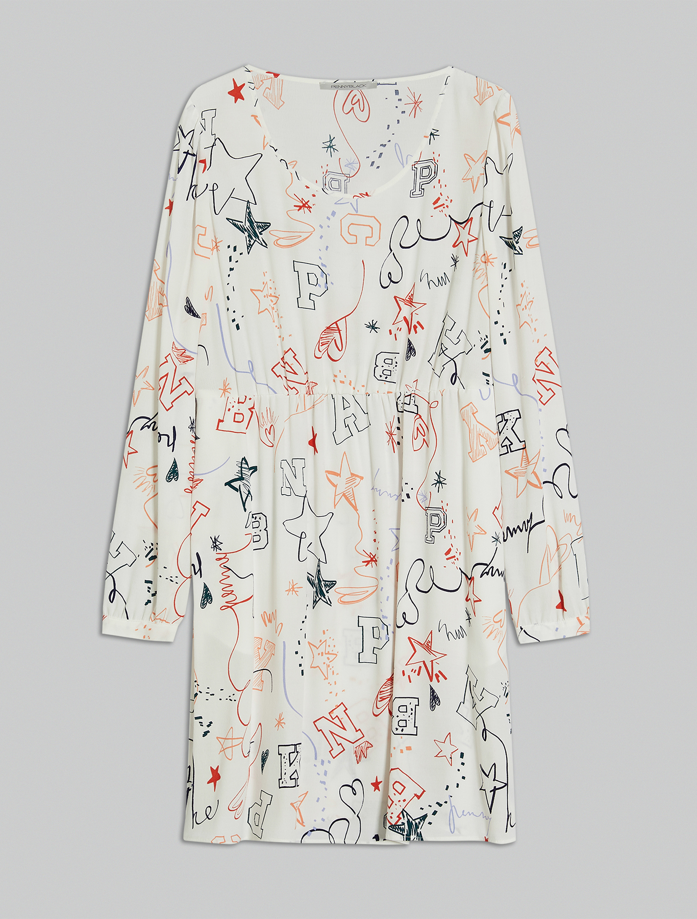 Printed crêpe dress - white pattern - pennyblack