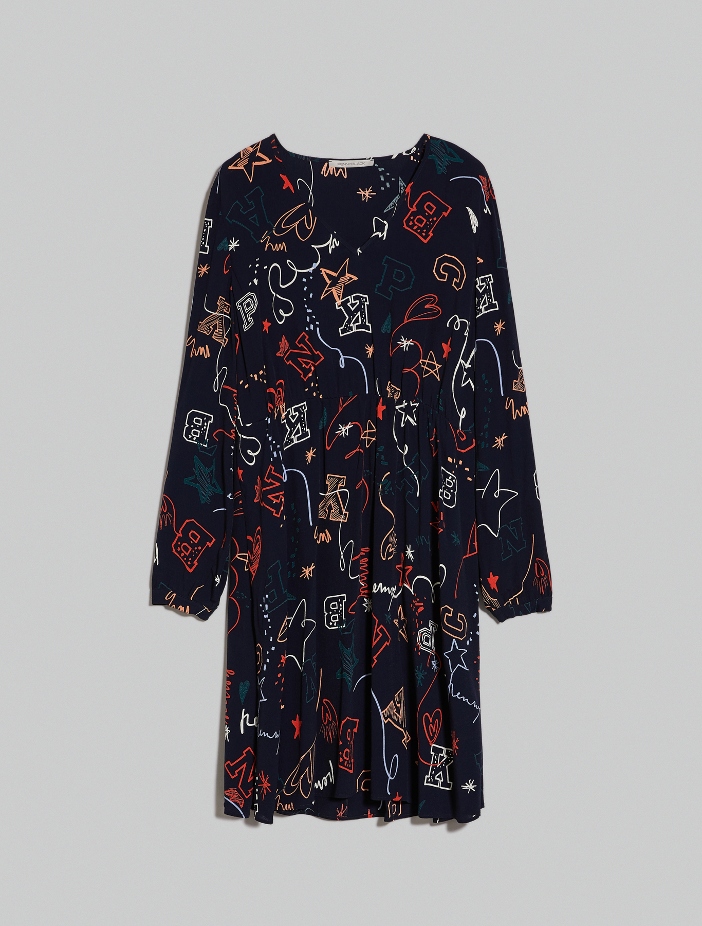 Printed crêpe dress - navy blue pattern - pennyblack
