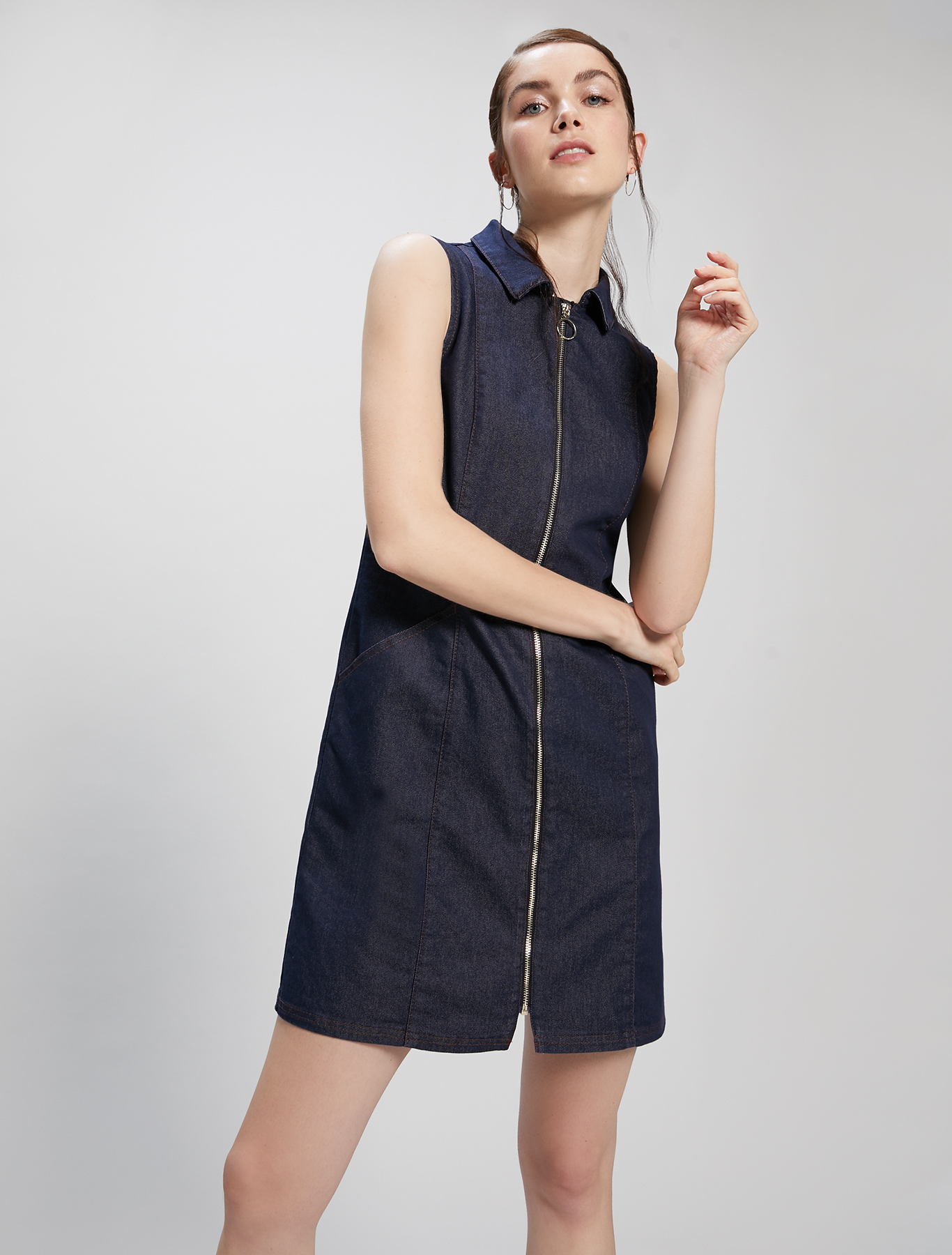 Blue denim vest dress - midnight blue - pennyblack