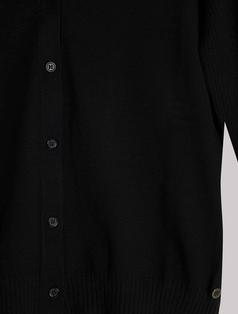 Ribbed-sleeve cardigan - black - pennyblack