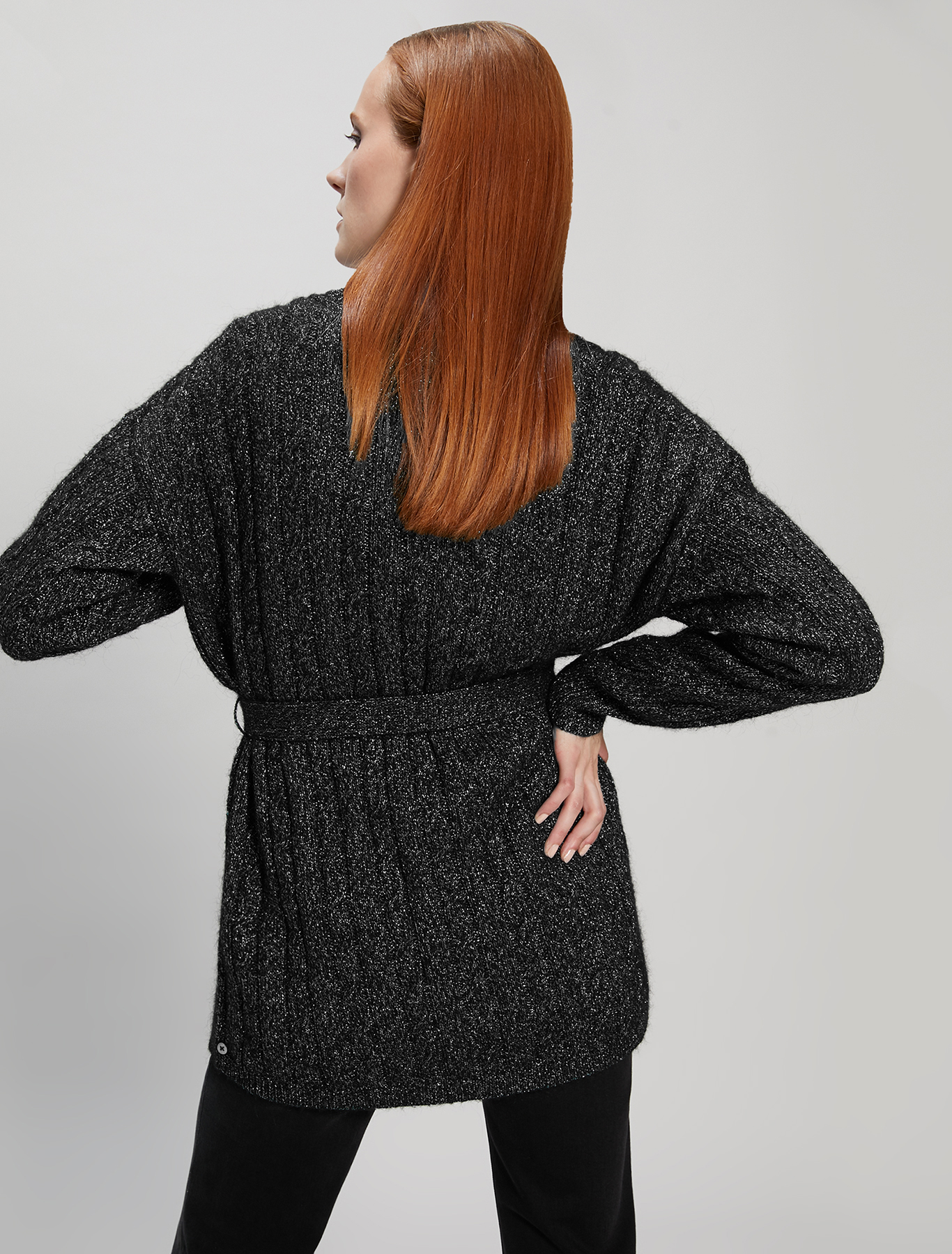 Lamé cable cardigan - black - pennyblack
