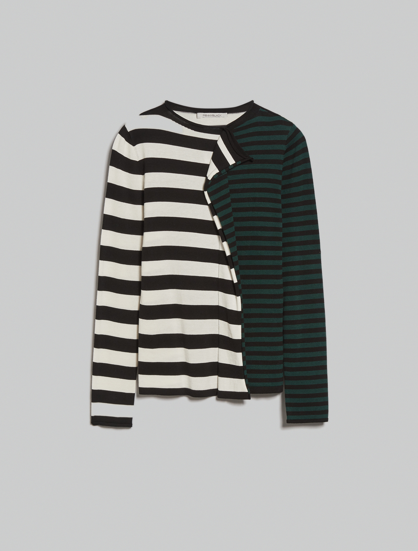Striped jumper with flounce - pastel green pattern - pennyblack