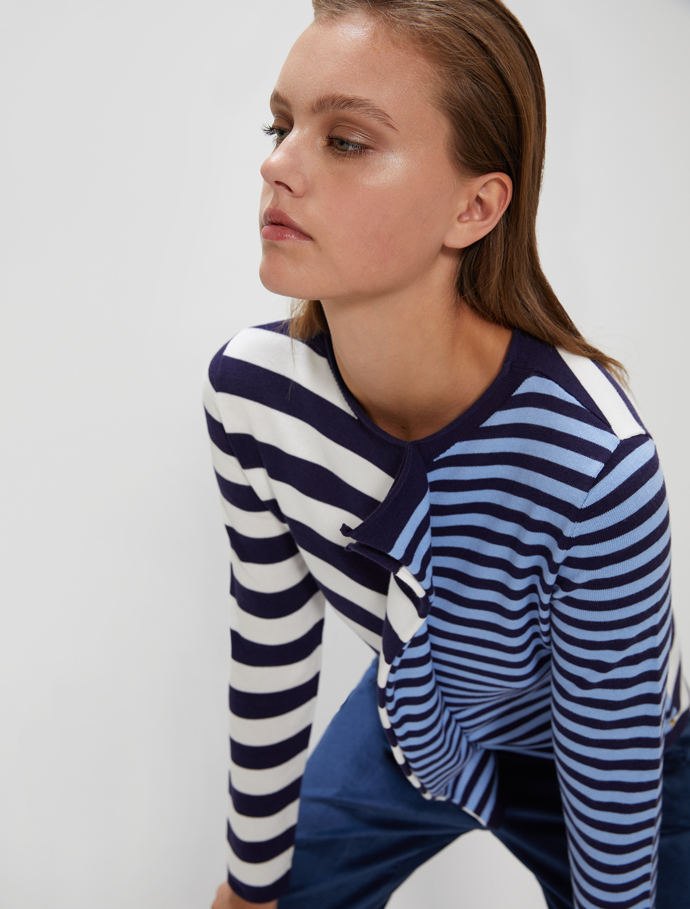 Striped jumper with flounce - navy blue pattern - pennyblack