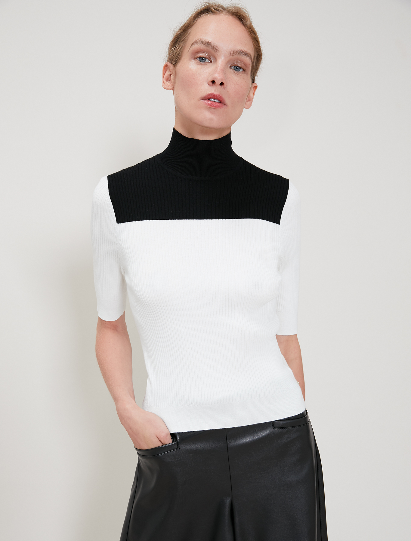Ribbed polo neck jumper - white pattern - pennyblack