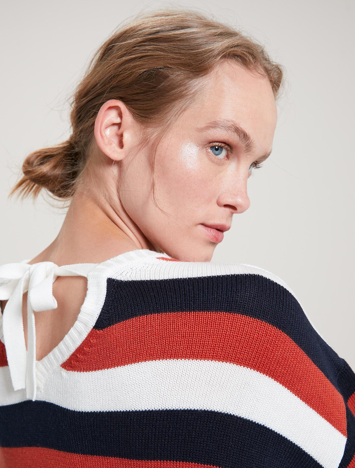 Striped jacquard jumper - brown pattern - pennyblack