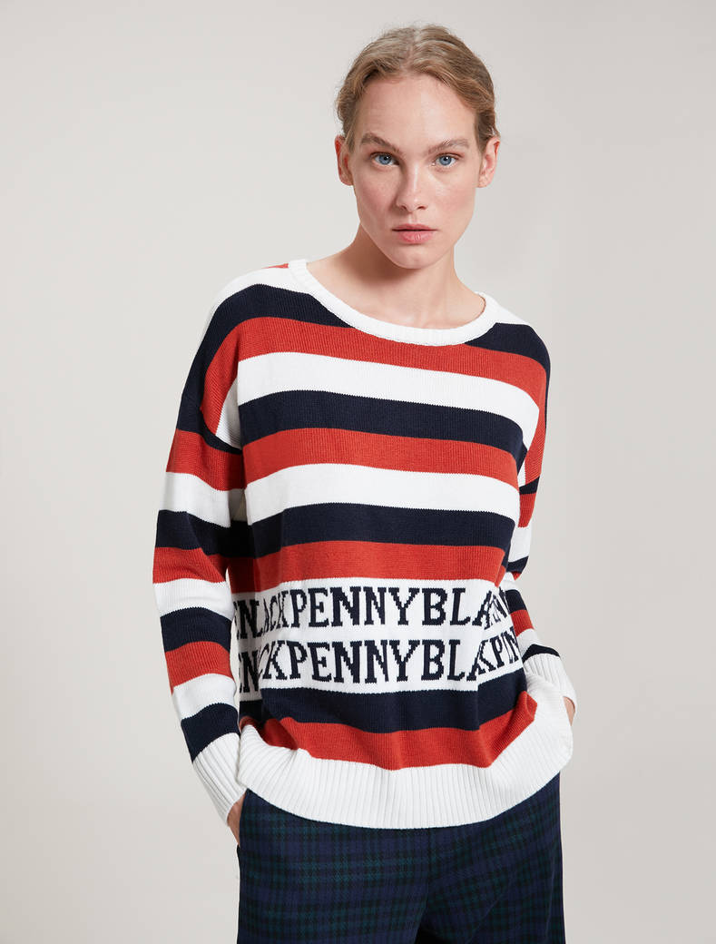 Striped jacquard jumper - brown pattern - pennyblack