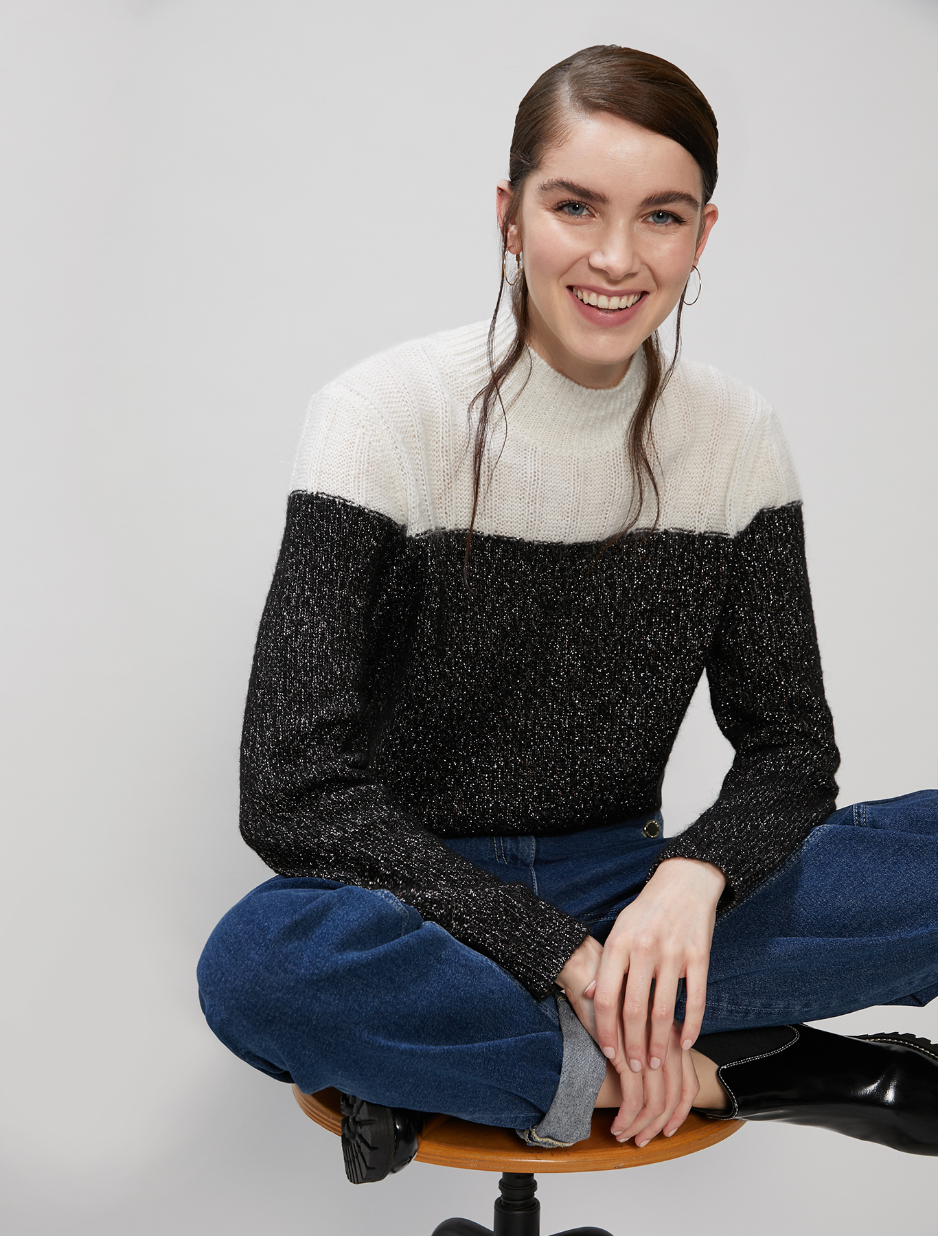 Lamé and mohair jumper - black - pennyblack