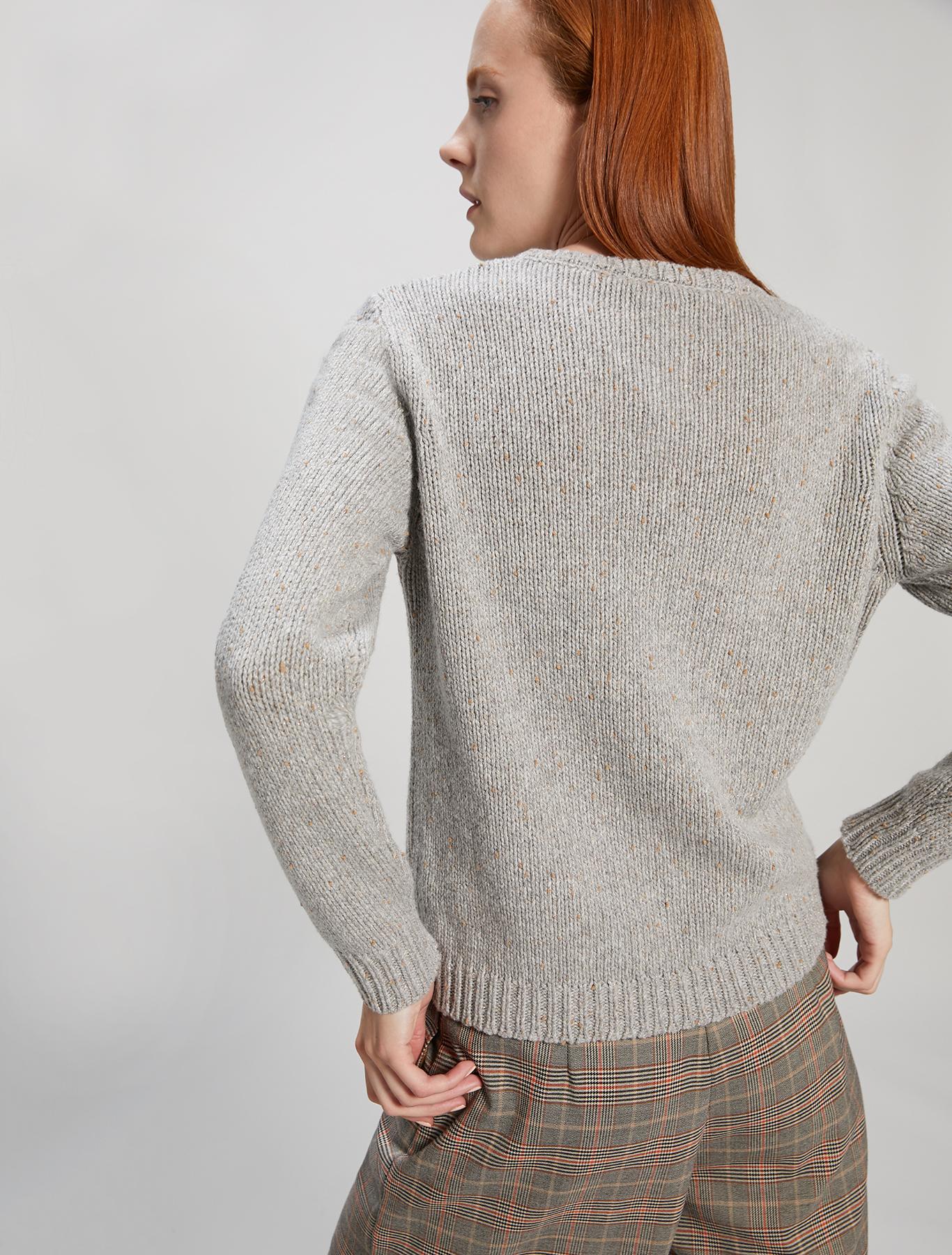 Crew neck lamé jumper - medium grey - pennyblack
