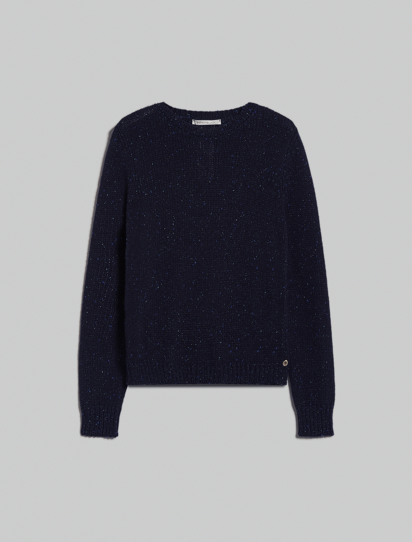 Crew neck lamé jumper - navy blue - pennyblack