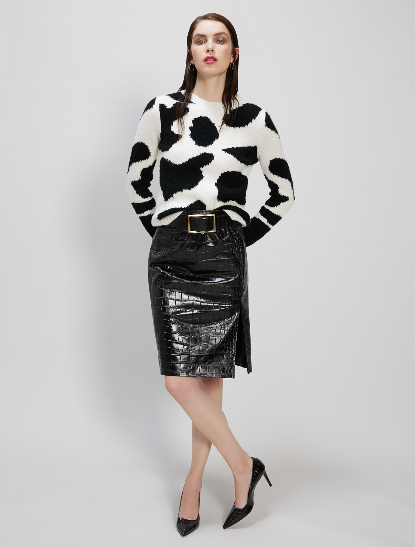 Leopard print intarsia jumper - white pattern - pennyblack