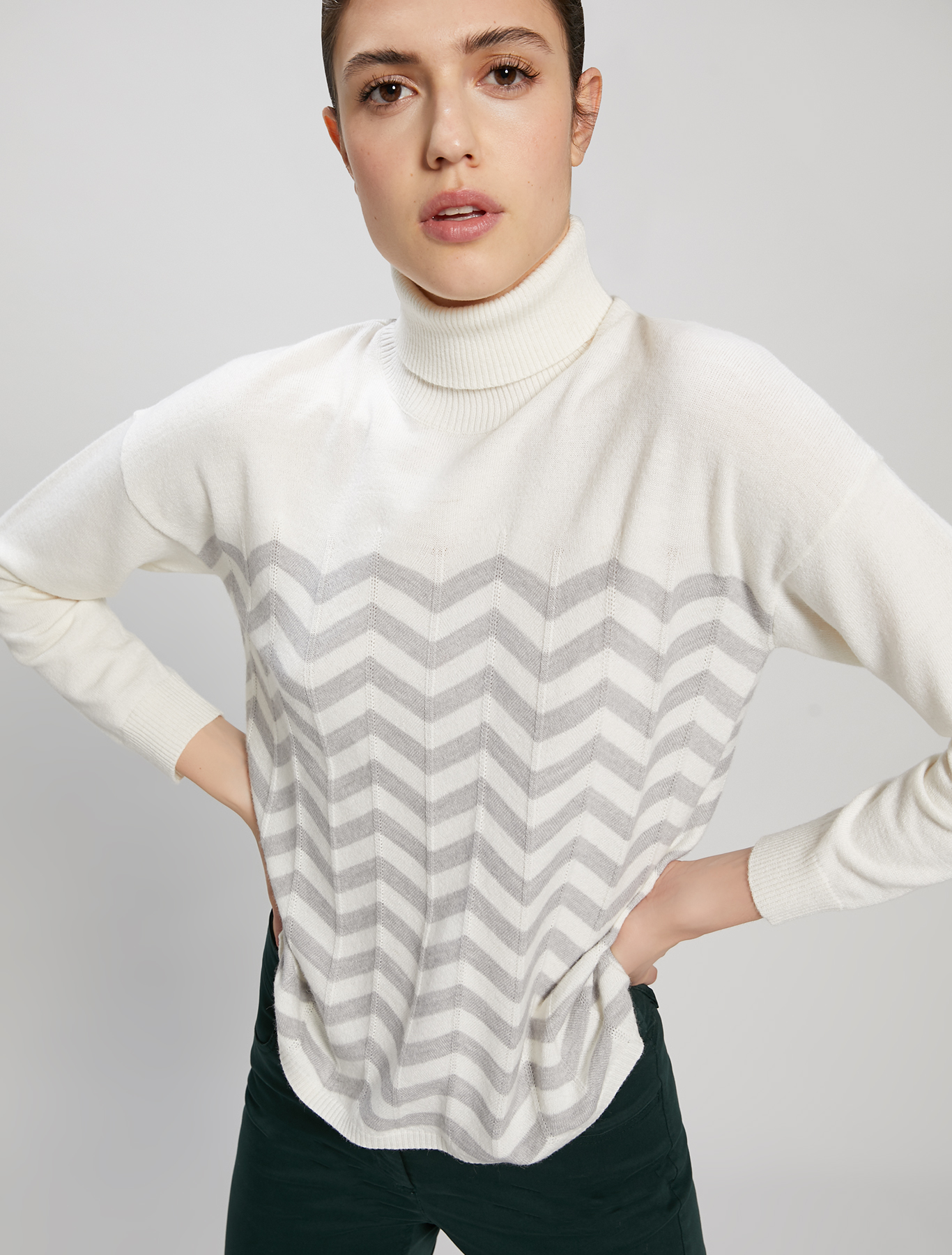 Chevron jumper - white - pennyblack