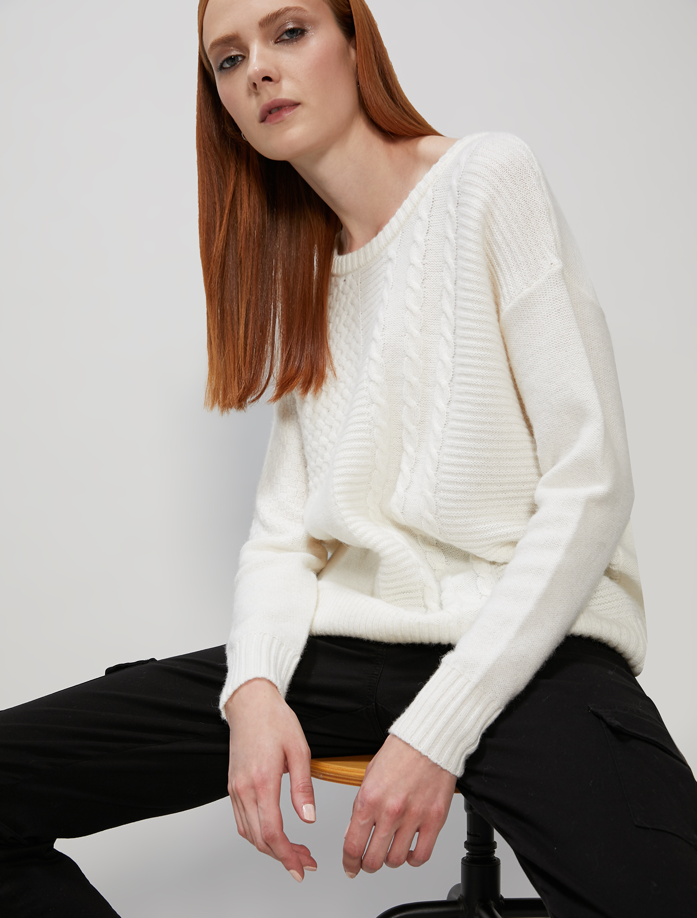 Mixed stitch jumper - white - pennyblack