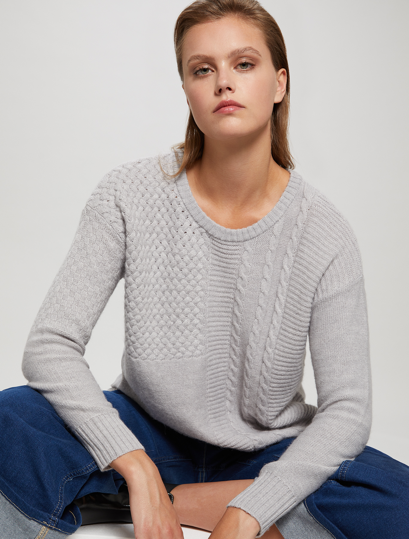 Mixed stitch jumper - pearl grey - pennyblack