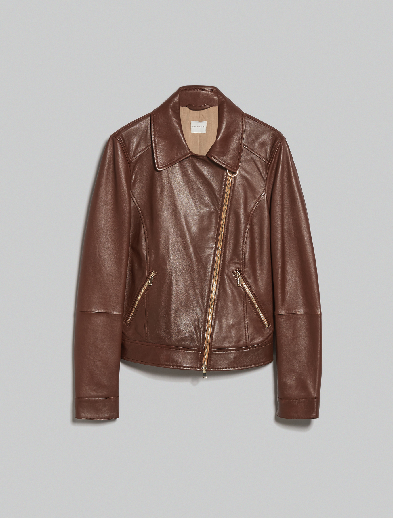 Leather biker jacket - cocoa - pennyblack