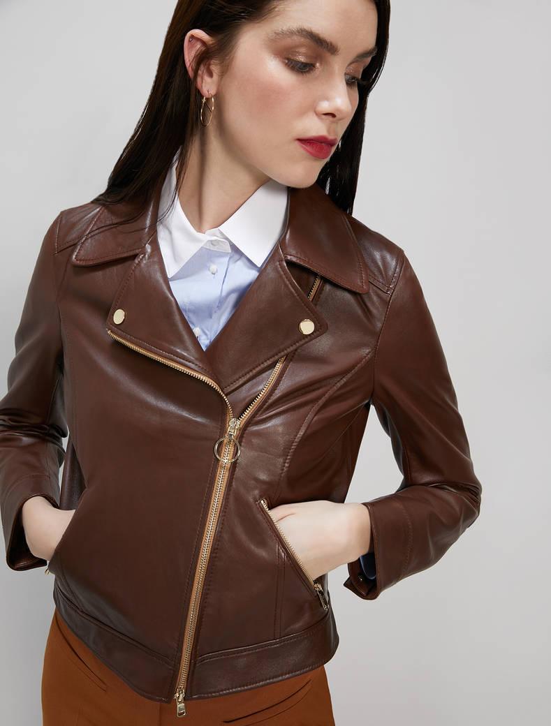 Leather biker jacket - cocoa - pennyblack
