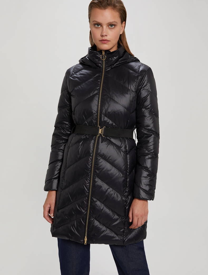Slim-fit belted down jacket - black - pennyblack