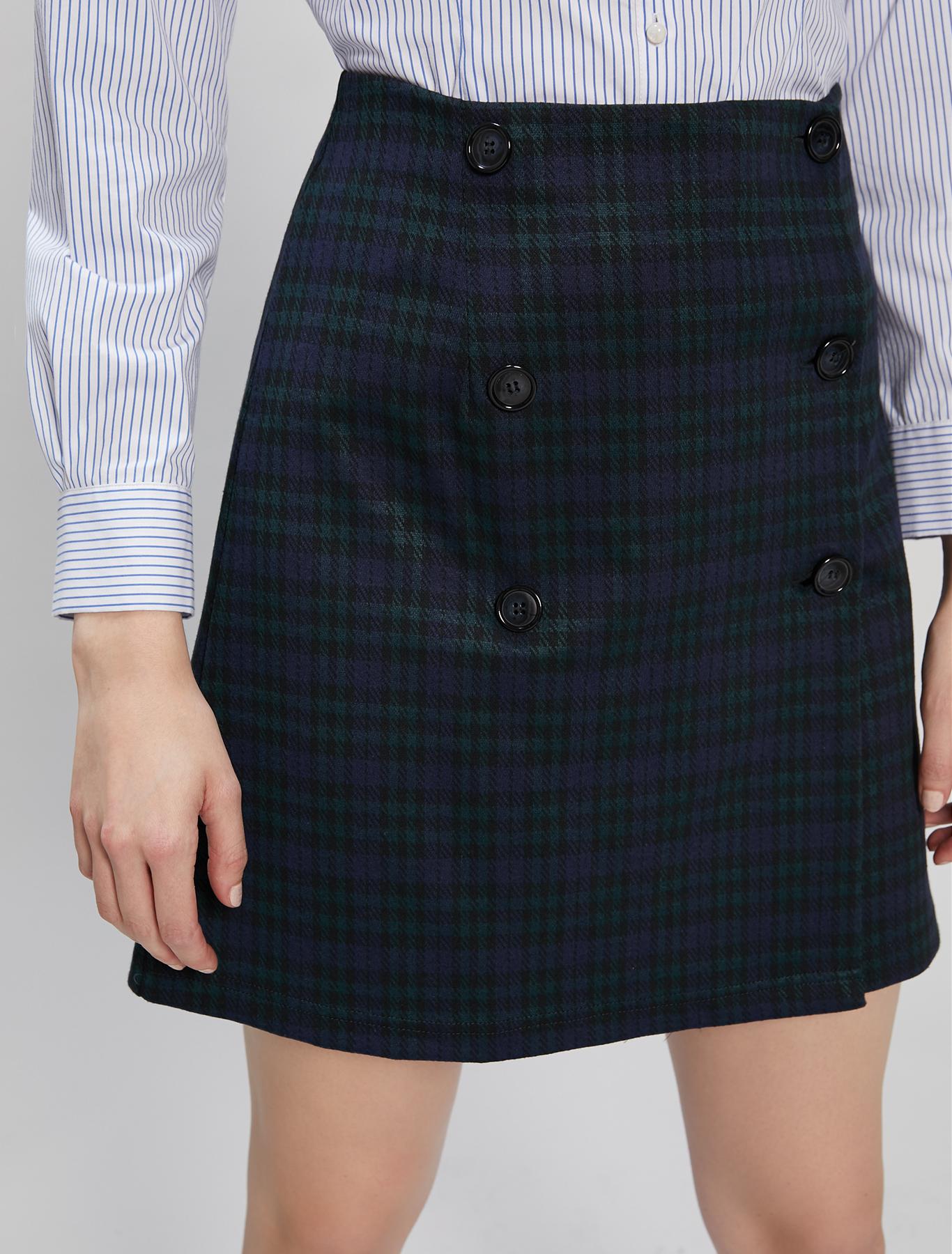 Jersey jacquard skirt - green pattern - pennyblack