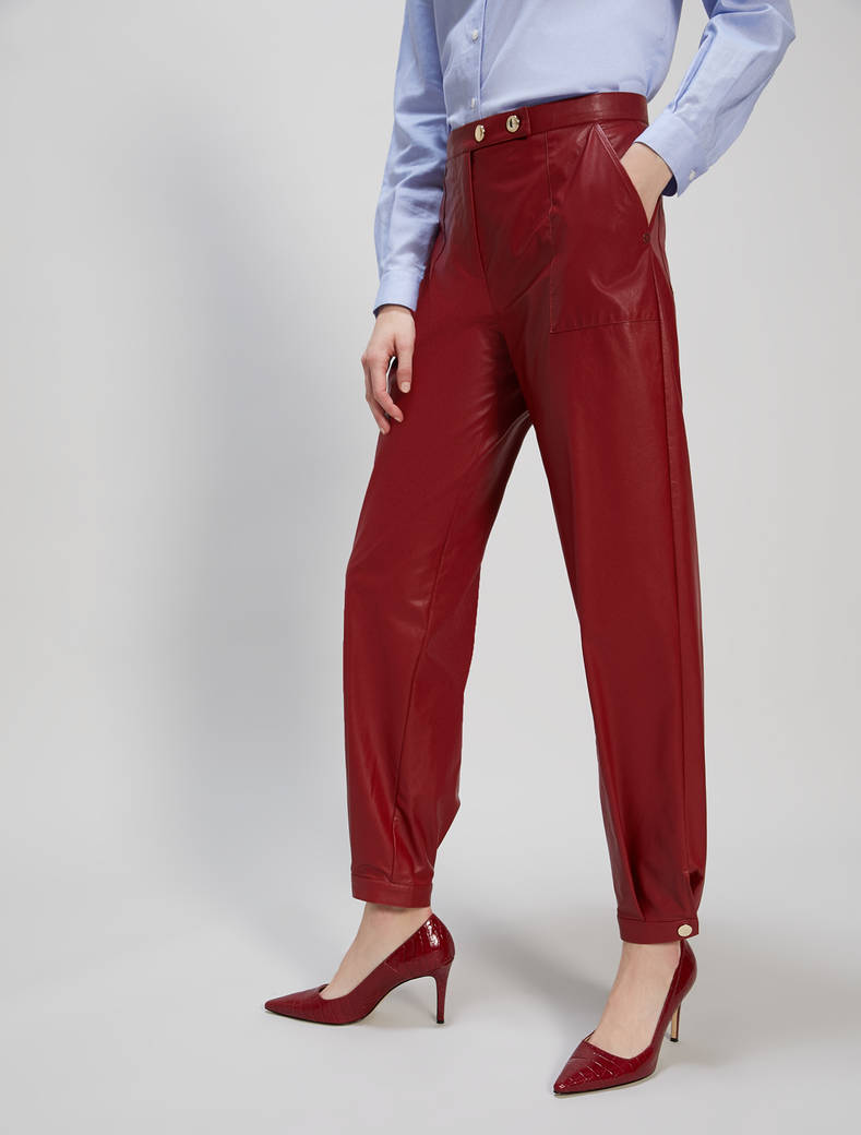 Jersey coated trousers - red - pennyblack