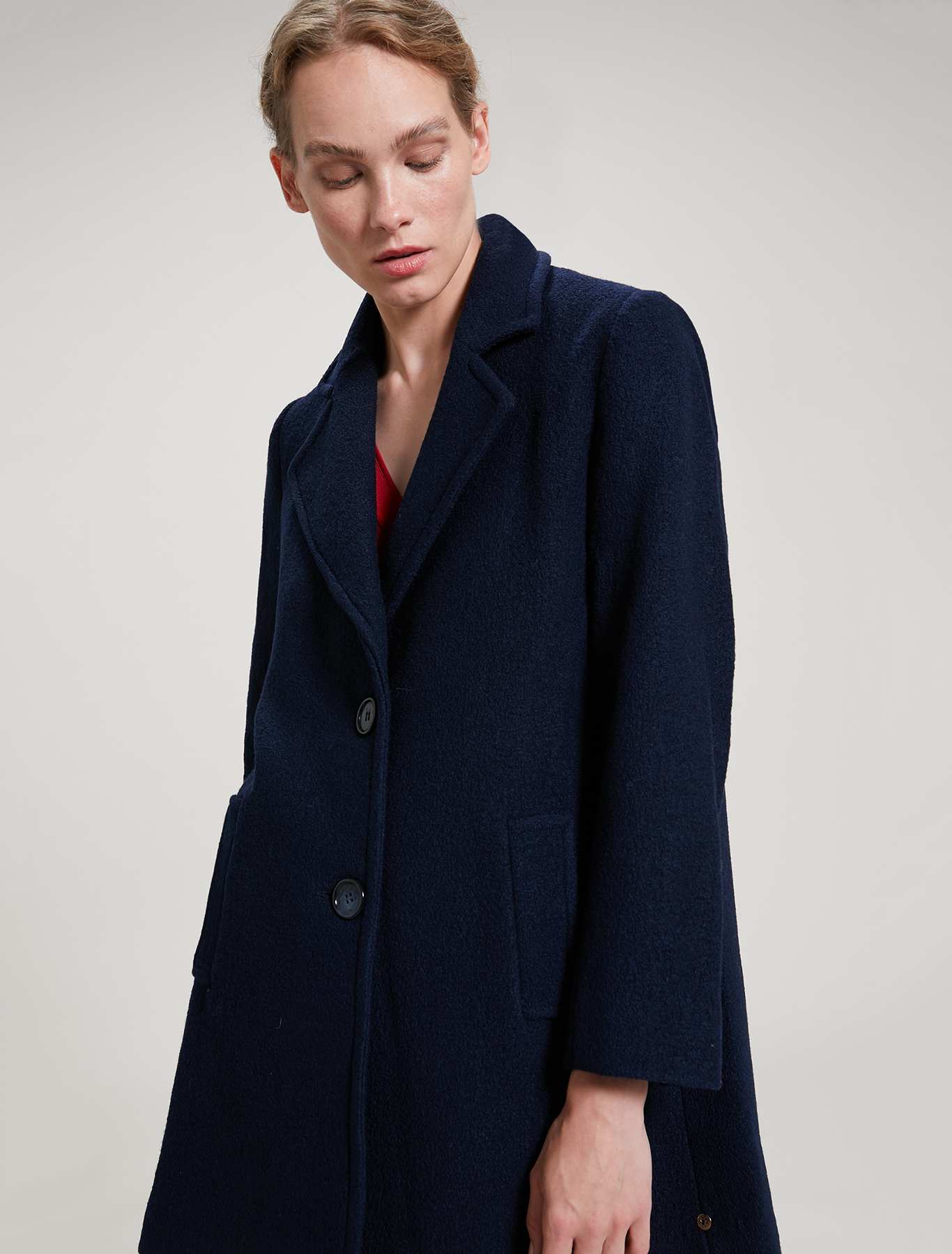 Boiled wool coat - navy blue - pennyblack