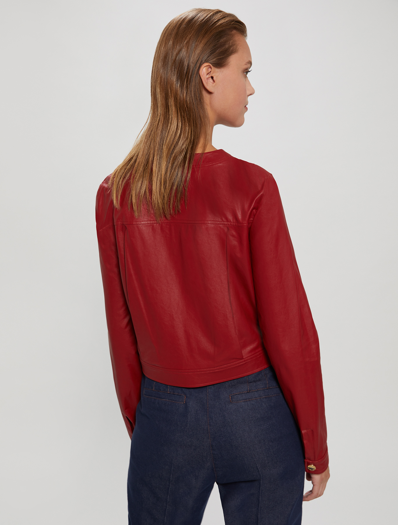 Coated jersey jacket - red - pennyblack