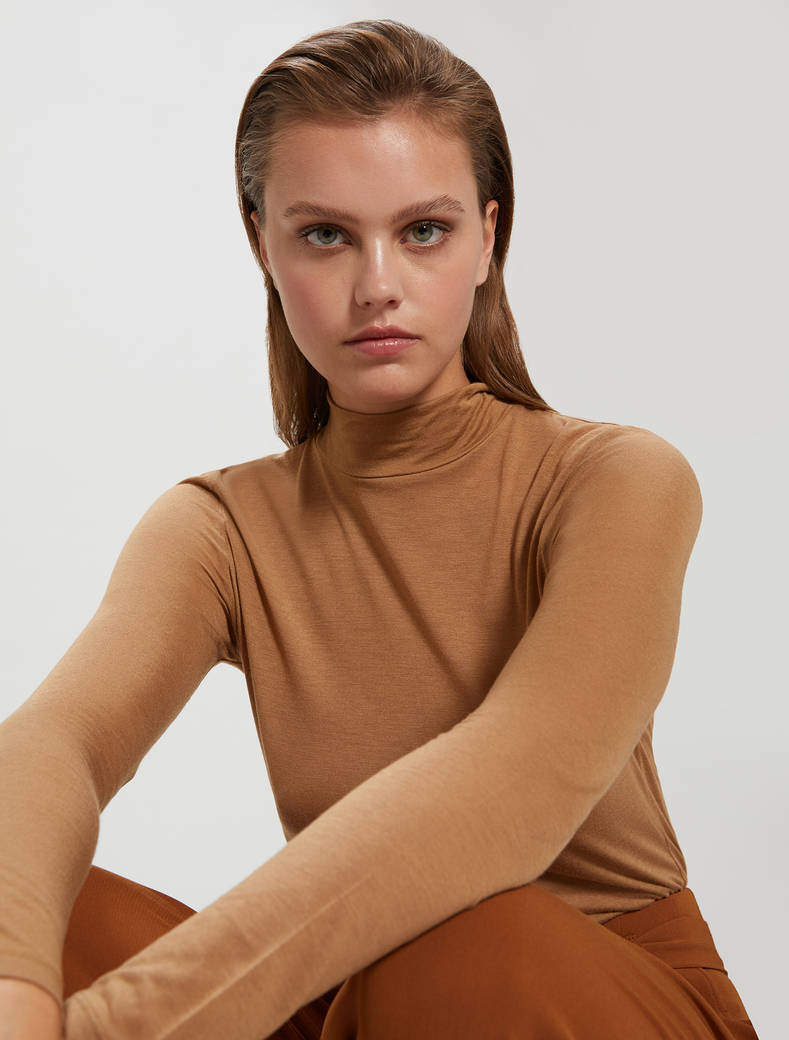 Modal and cashmere T-shirt - beige - pennyblack