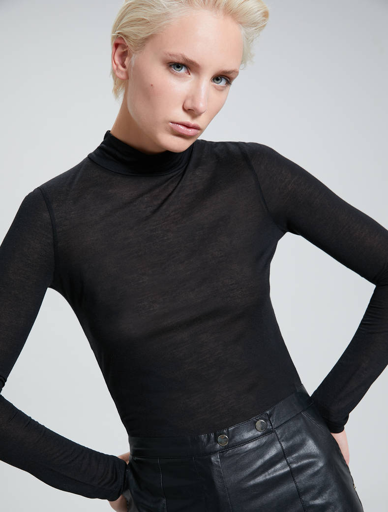 Modal and cashmere T-shirt - black - pennyblack
