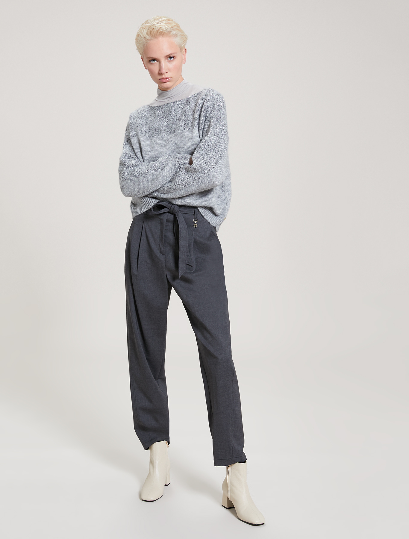Modal and cashmere T-shirt - pearl grey - pennyblack