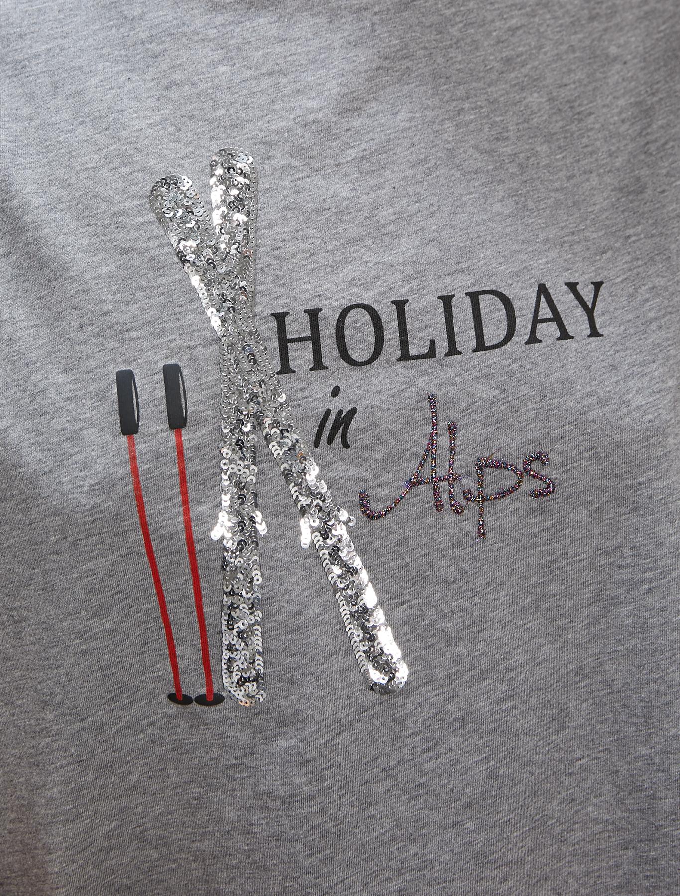 Embroidered sequin T-shirt - medium grey - pennyblack