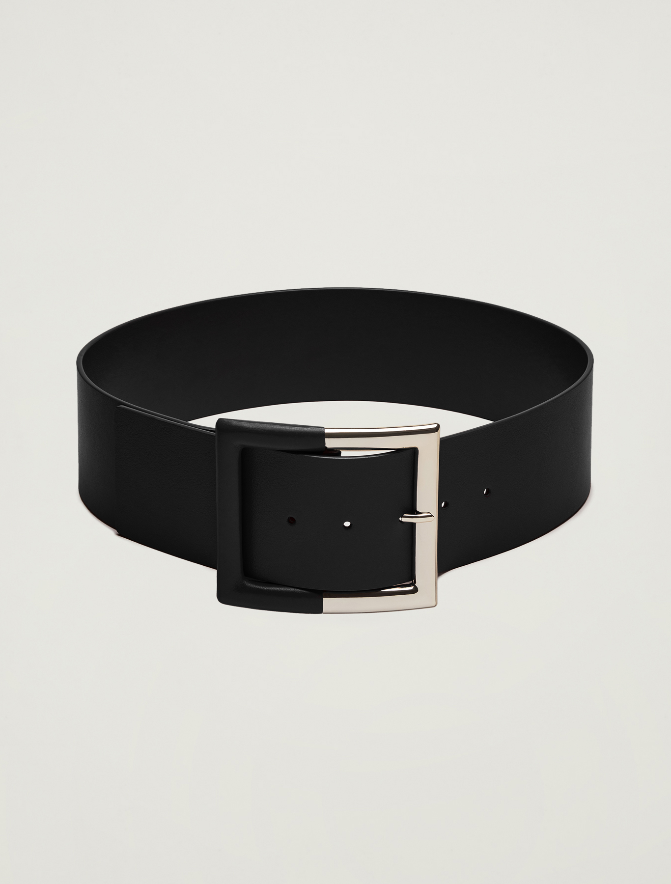 Wide leather belt - black - pennyblack