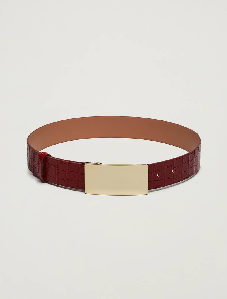 Crocodile-print leather belt - red - pennyblack