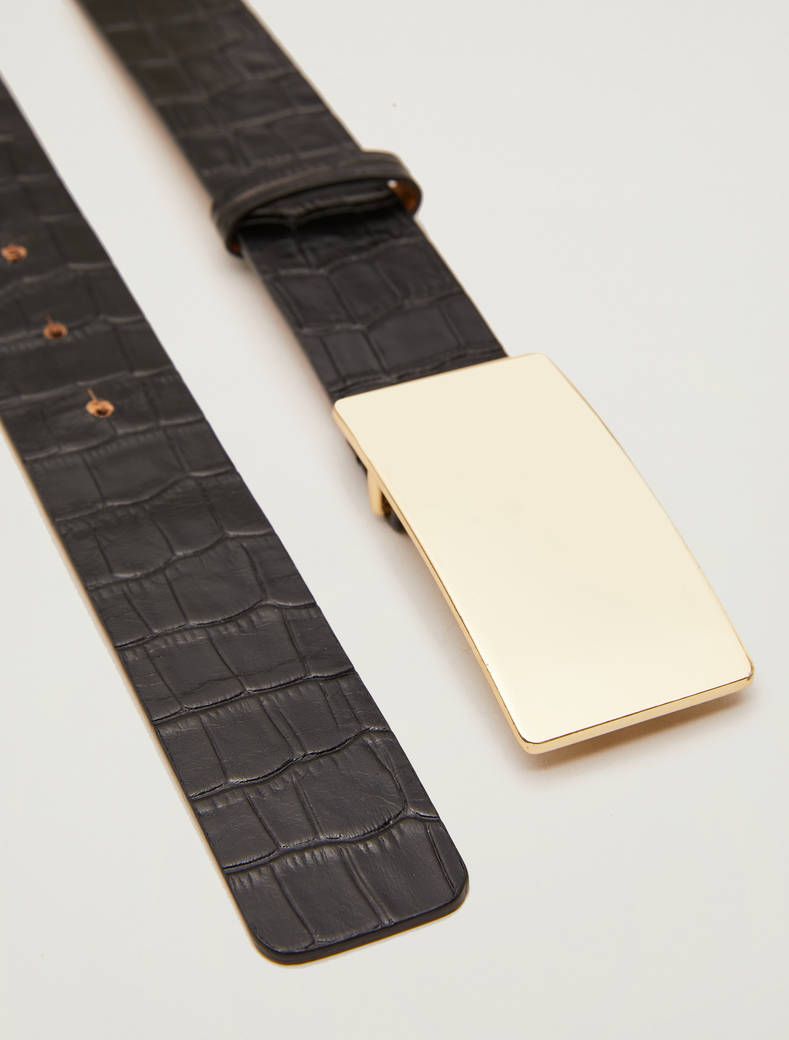 Crocodile-print leather belt - black - pennyblack