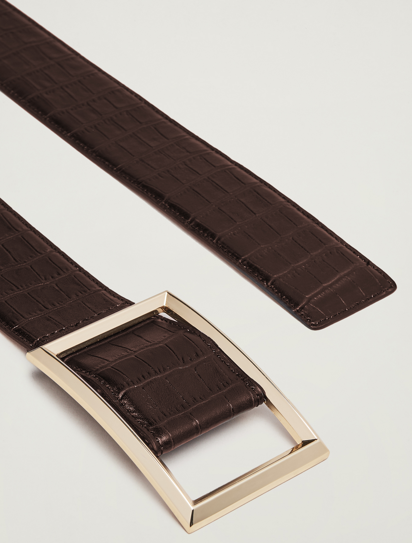 Crocodile-print leather belt - brown - pennyblack