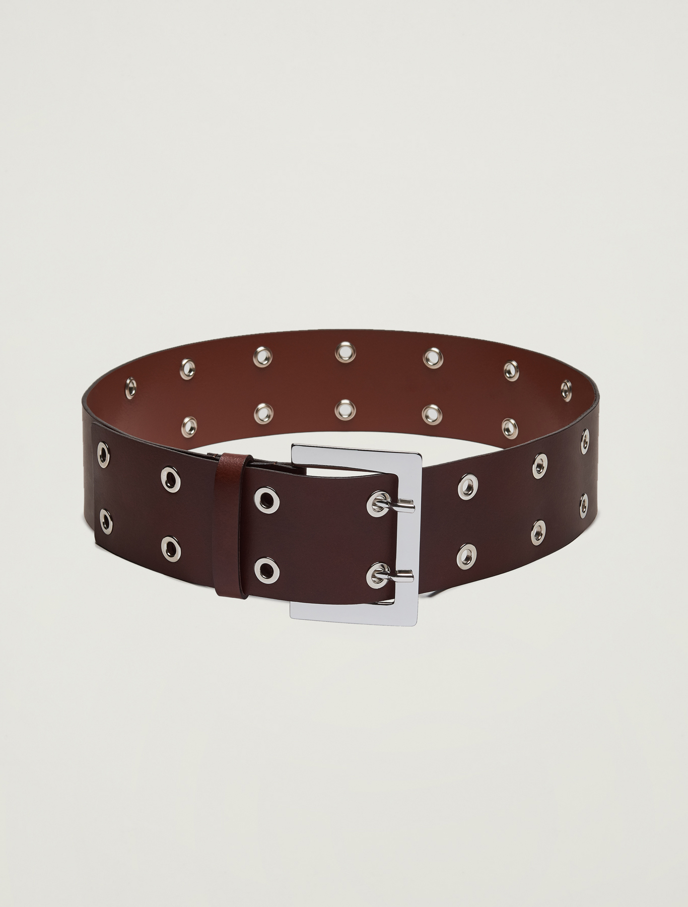 Wide studded belt - brown - pennyblack