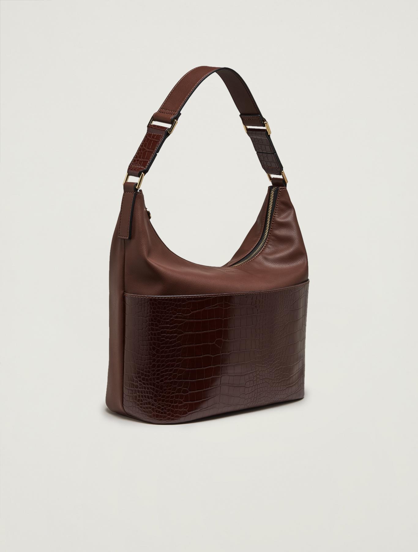 Croc-print hobo bag - brown - pennyblack
