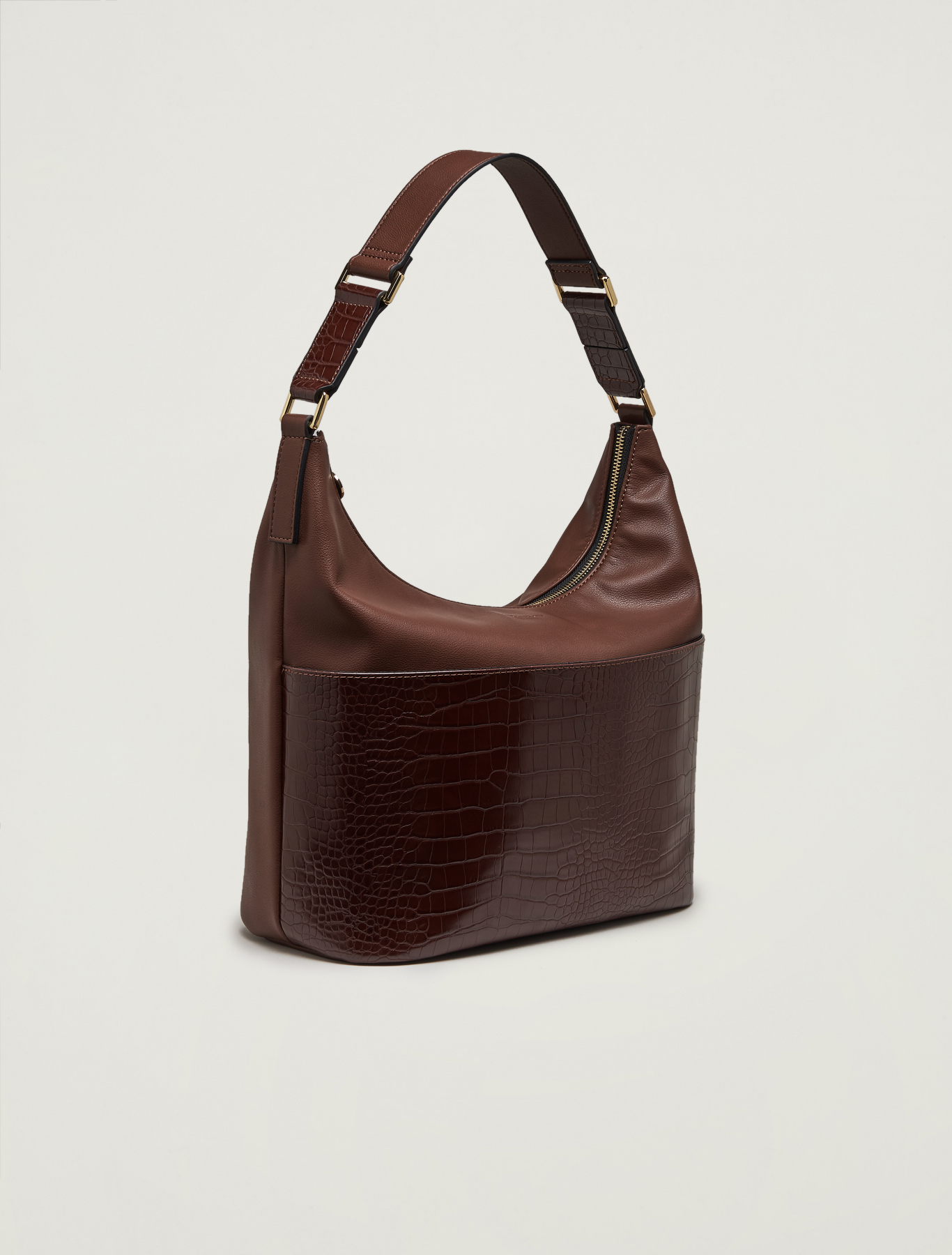Croc-print hobo bag - brown - pennyblack