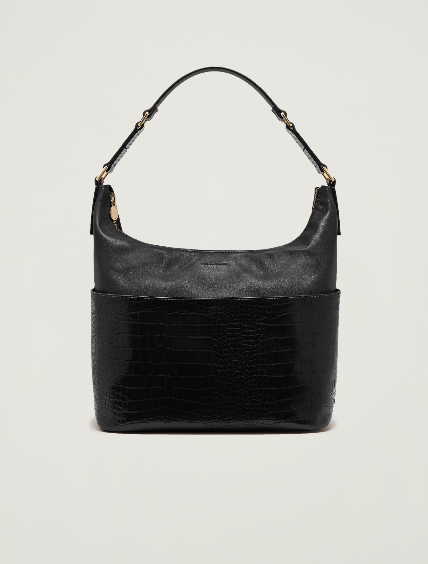 Croc-print hobo bag - black - pennyblack