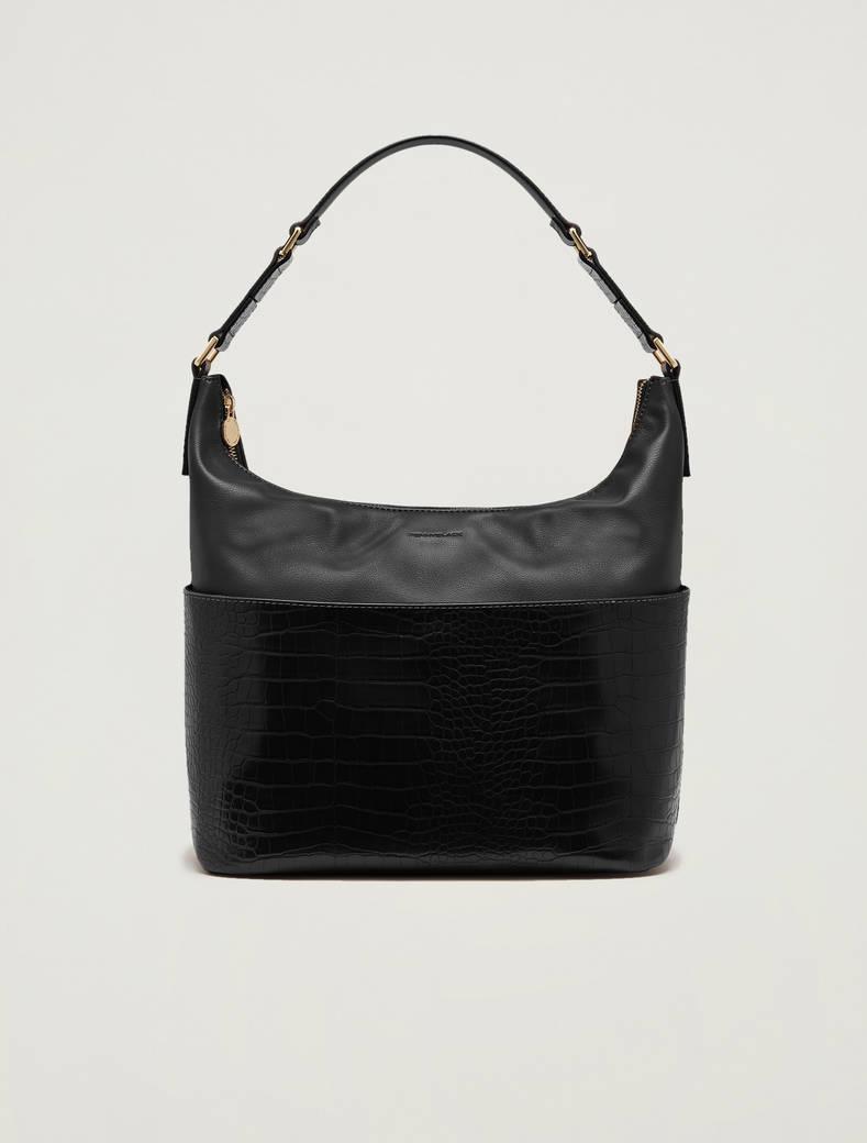 Croc-print hobo bag - black - pennyblack
