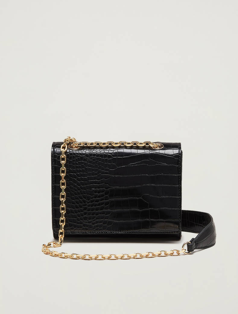Croc-print chain bag - black - pennyblack