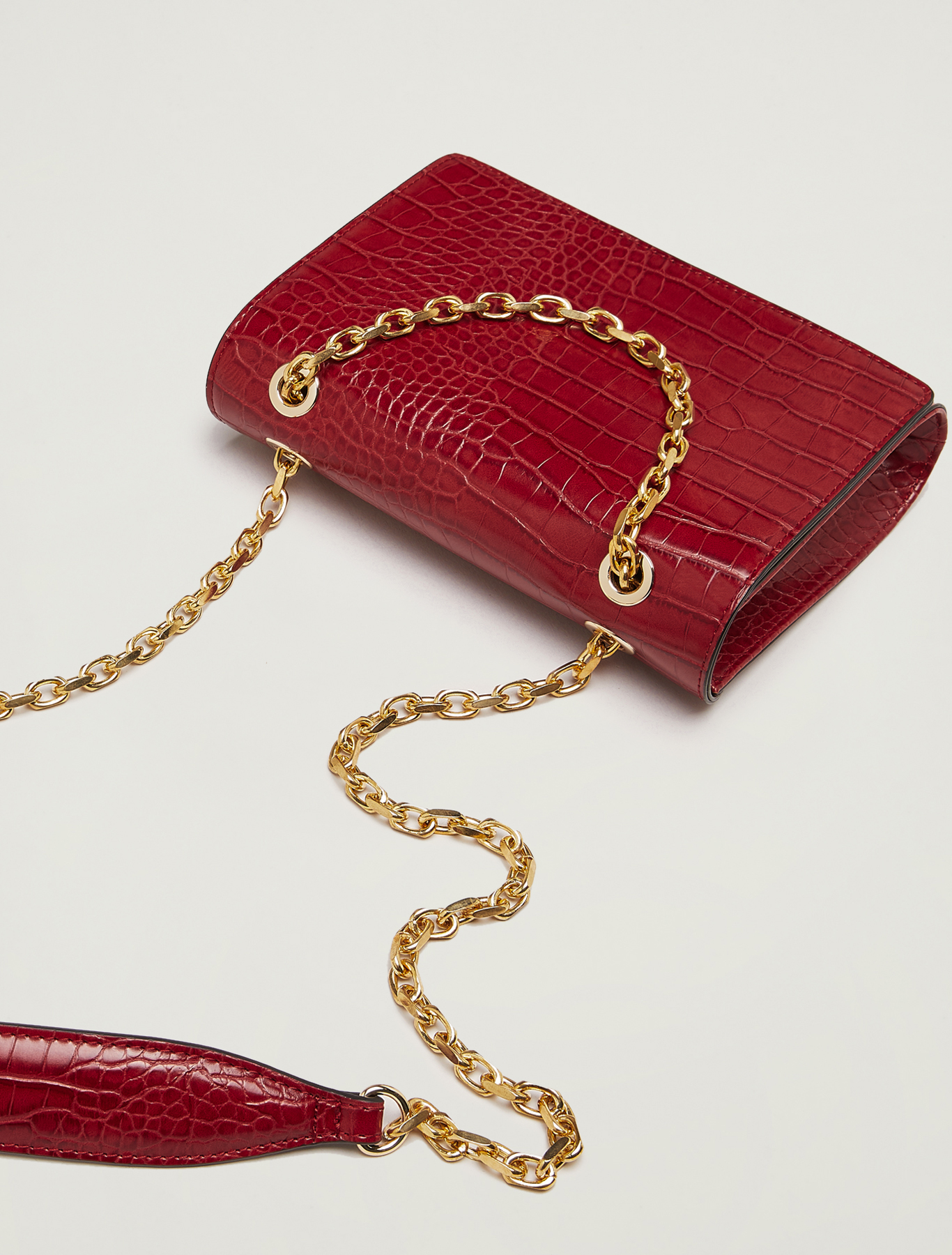 Croc-print chain bag - red - pennyblack