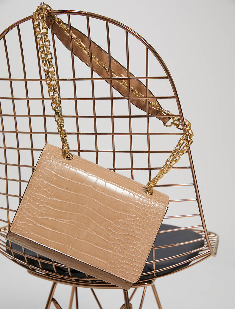 Chain bag a stampa cocco - beige - pennyblack