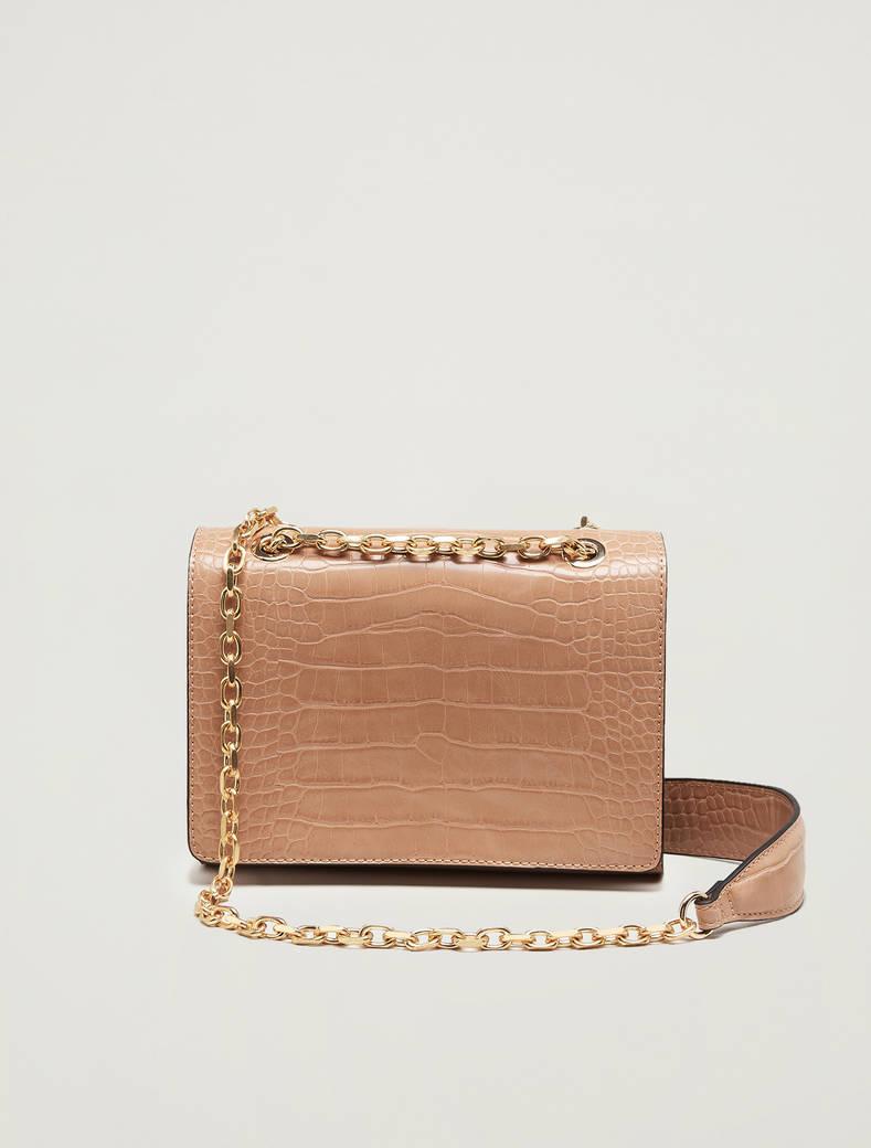 Croc-print chain bag - beige - pennyblack