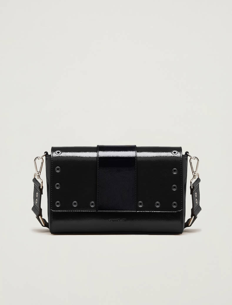 Studded patent leather shoulder bag - black - pennyblack