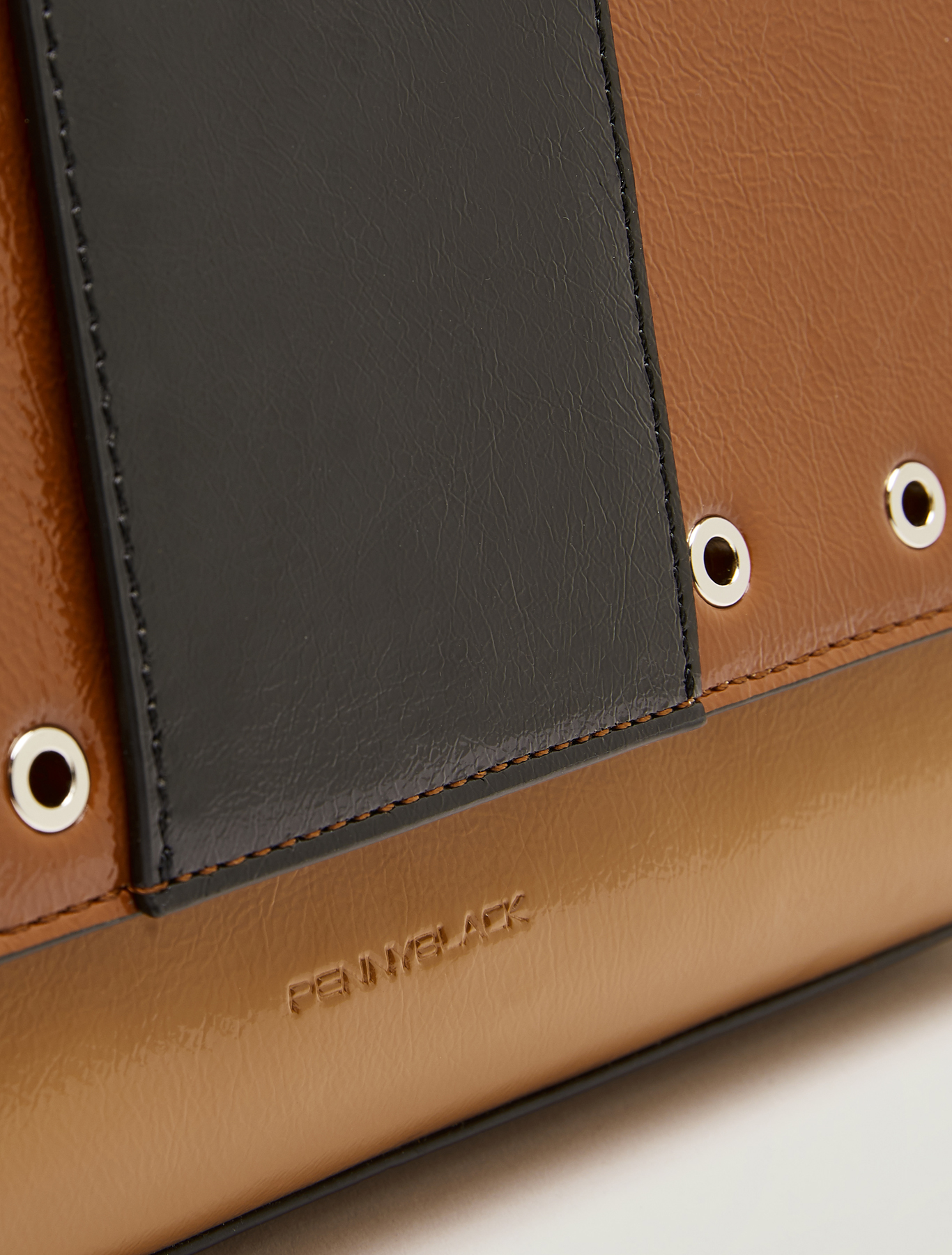 Studded patent leather shoulder bag - beige - pennyblack