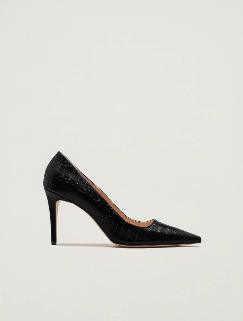 Crocodile-print leather court shoes - black - pennyblack